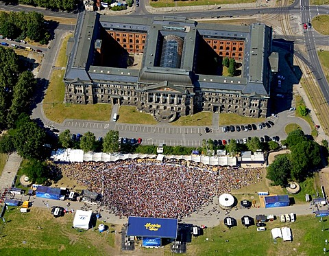 Aerial view, Football World Cup 2010, public screening in Dresden, Saxony, Germany, Europe