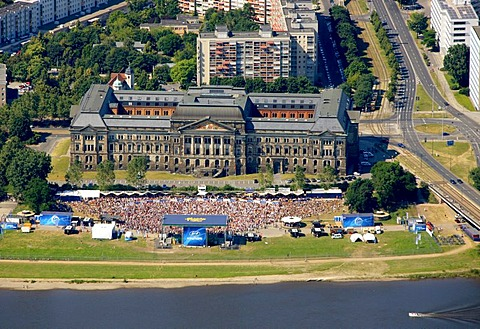 Aerial view, Football World Cup 2010, public screening at the River Elbe, Dresden, Saxony, Germany, Europe