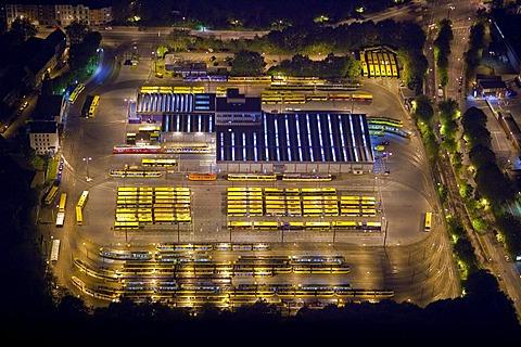 Aerial view, night shot, EVAG tram depot, Essen, Ruhrgebiet region, North Rhine-Westphalia, Germany, Europe
