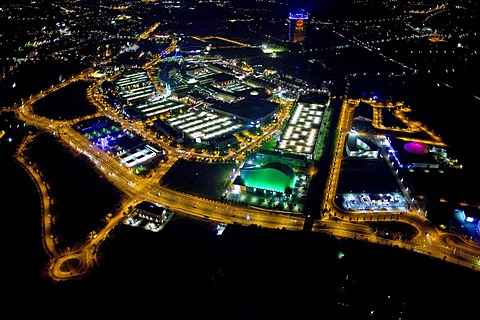 Aerial view, night, new center with gasometer, Centro, new water park, theater at night, Oberhausen, Ruhrgebiet region, North Rhine-Westphalia, Germany, Europe
