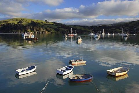 Small boats, Akaroa Harbour, Banks Peninsula, Canterbury region, South Island, New Zealand