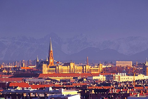 Maximilianeum building and St John's Church with the Alps, Munich, Bavaria, Germany, Europe