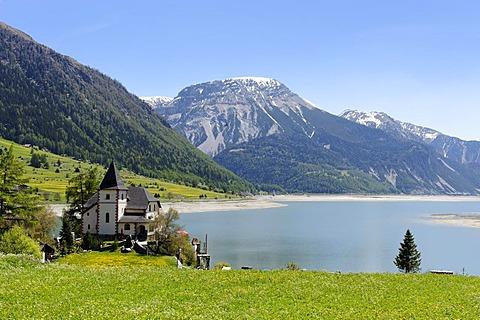 Endkopf, 2627 m, above Lake Reschen reservoir, Vinschgau, Val Venosta, South Tyrol, Italy, Europe