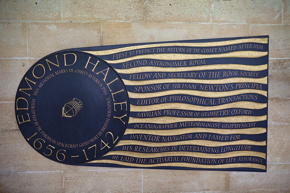 Edmond Halley Memorial Plaque, The Cloisters, Westminster Abbey, London, England, United Kingdom, Europe