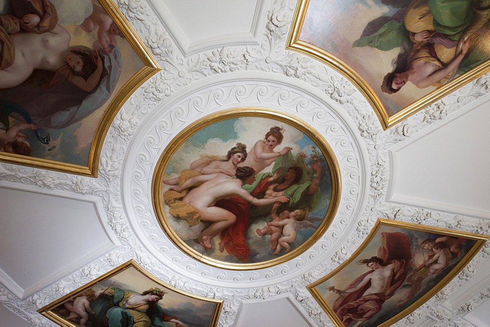 Entrance ceiling painting, Royal Academy of Arts, Burlington House, Piccadilly, London, England, United Kingdom, Europe