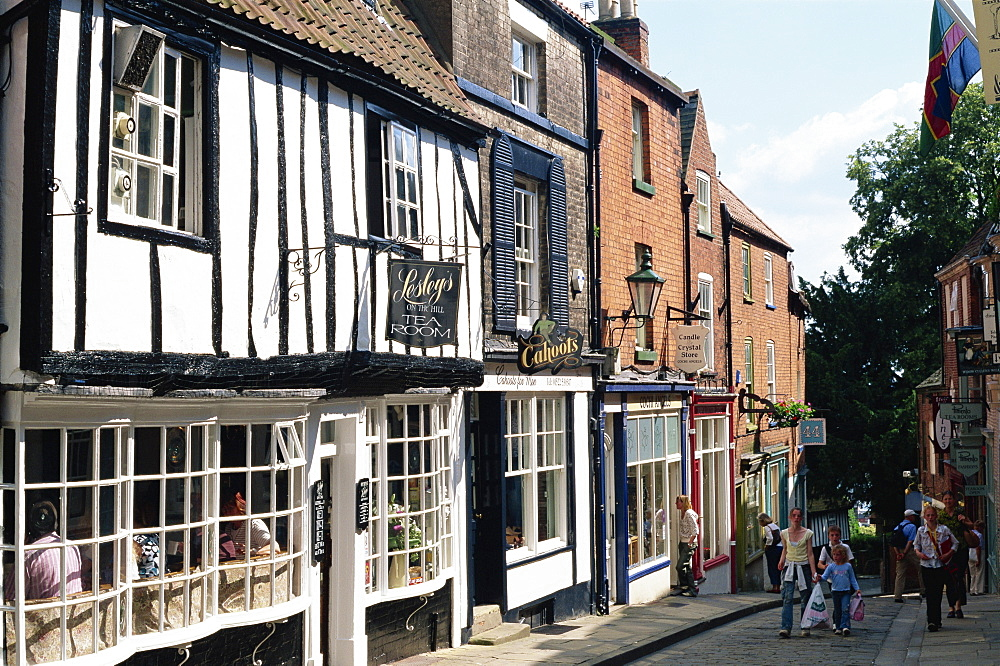Shops in Steep Hill, Lincoln, Lincolnshire, England, United Kingdom, Europe