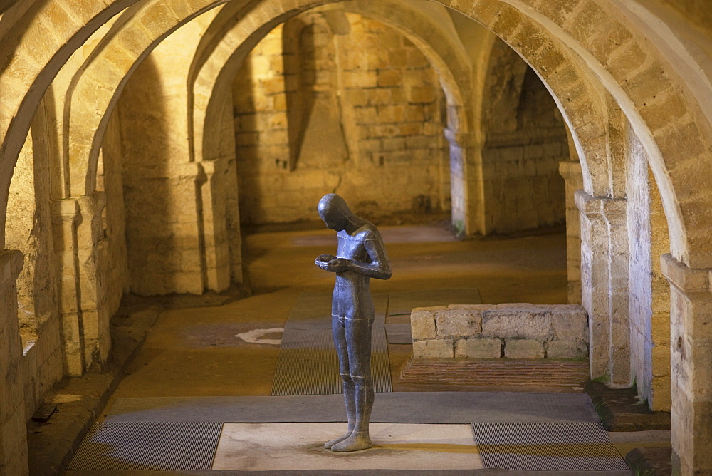 Antony Gormley's sculpture Sound II in the Crypt, Winchester Cathedral, Winchester, Hampshire, England, United Kingdom, Europe
