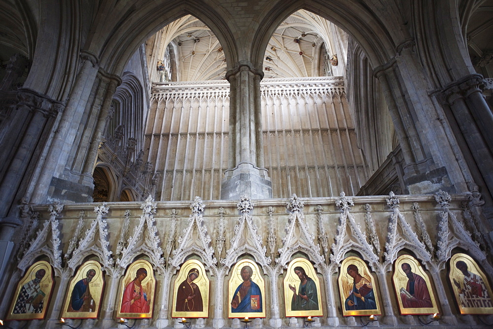 20th century Icons by Sergei Fyodorov, Winchester Cathedral, Winchester, Hampshire, England, United Kingdom, Europe