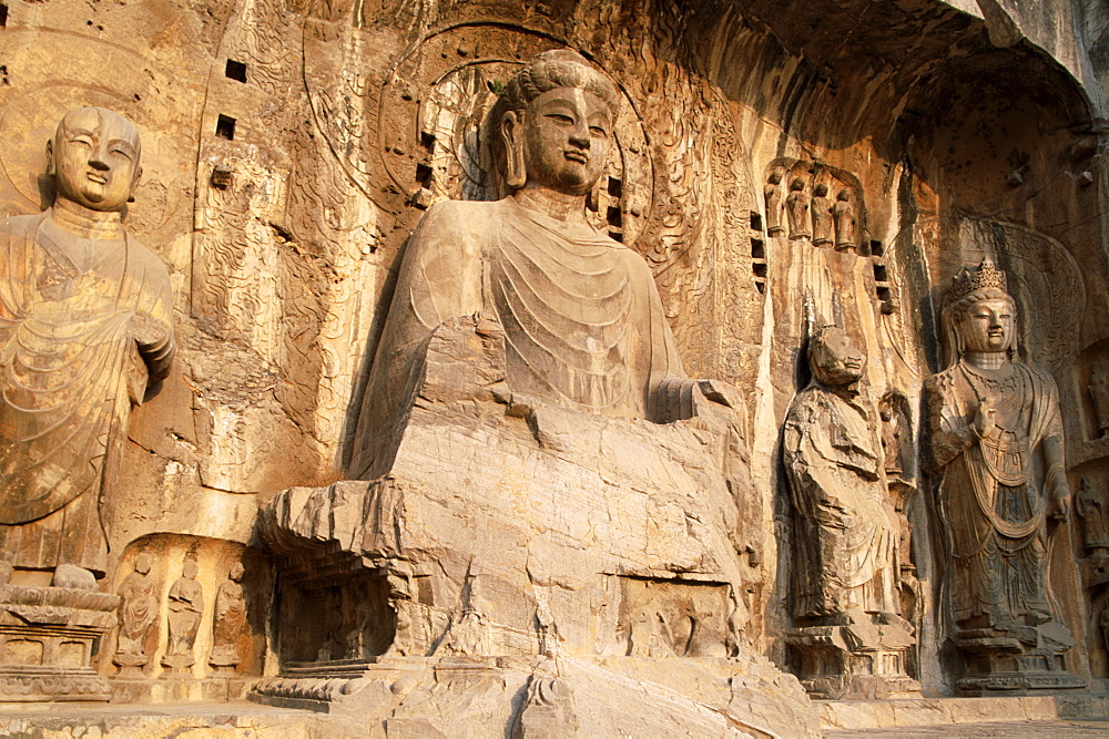 Longmen Buddhist Caves, Ancestor Worshipping Temple dating from the Tang Dynasty, UNESCO World Heritage Site, Luoyang, Henan Province, China, Asia