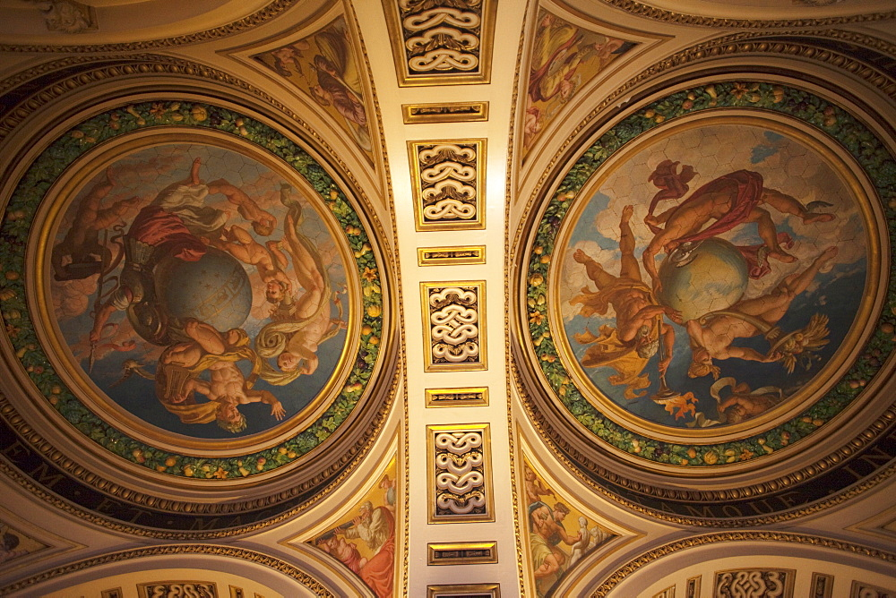 Ceiling decoration of the Ceramic Staircase by Francis Wollaston Thomas, Victoria and Albert Museum, London, England, United Kingdom, Europe
