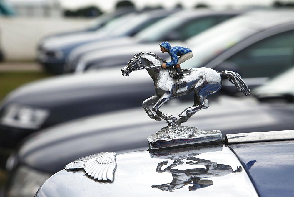 Race horse statue on car bonnet, Annual Epsom Derby Horse Race, Epsom, Surrey, England, United Kingdom, Europe