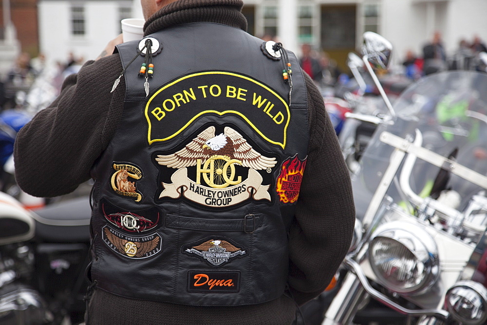 Biker's leather jacket, Reunion Day at the Ace Cafe, London, England, United Kingdom, Europe
