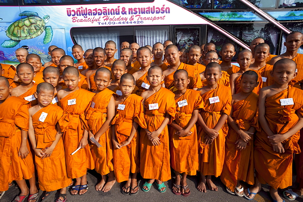 Group of young monks, Ayutthaya Historical Park, Ayutthaya, Thailand, Southeast Asia, Asia