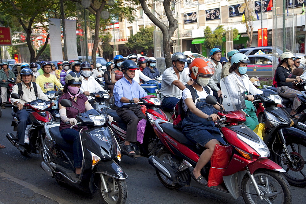 Motorbike traffic, Ho Chi Minh City, Vietnam, Indochina, Southeast Asia, Asia