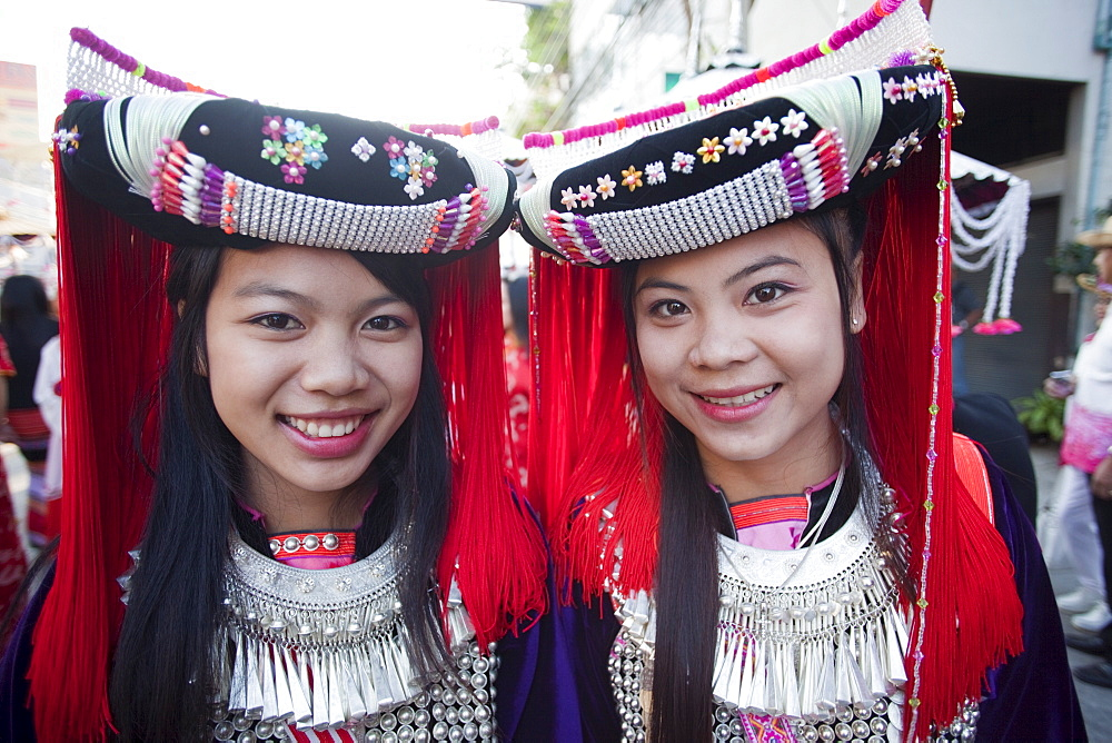 Lisu hilltribe girls, Chiang Mai Flower Festival, Chiang Mai, Thailand, Southeast Asia, Asia