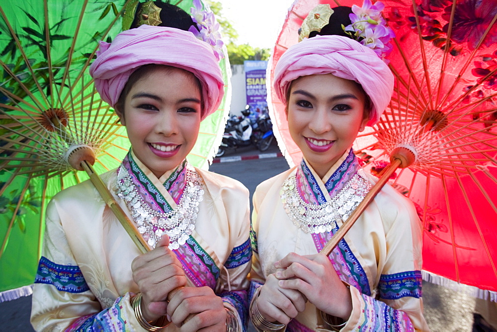 Girls in hilltribe costume, Chiang Mai Flower Festival, Chiang Mai, Thailand, Southeast Asia, Asia