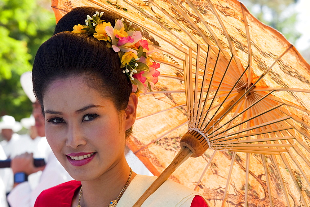 Portrait of a young woman in traditional Thai dress, Chiang Mai Flower Festival, Chiangmai, Thailand, Southeast Asia, Asia