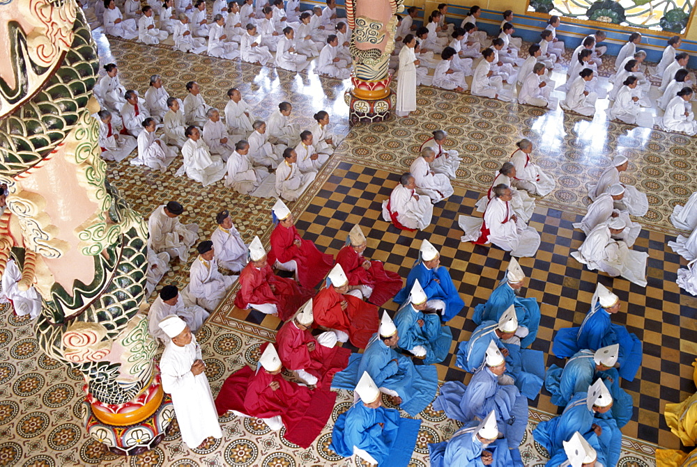 Religious service in the Cao Dai Temple, Tay Ninh, Vietnam, Indochina, Southeast Asia, Asia