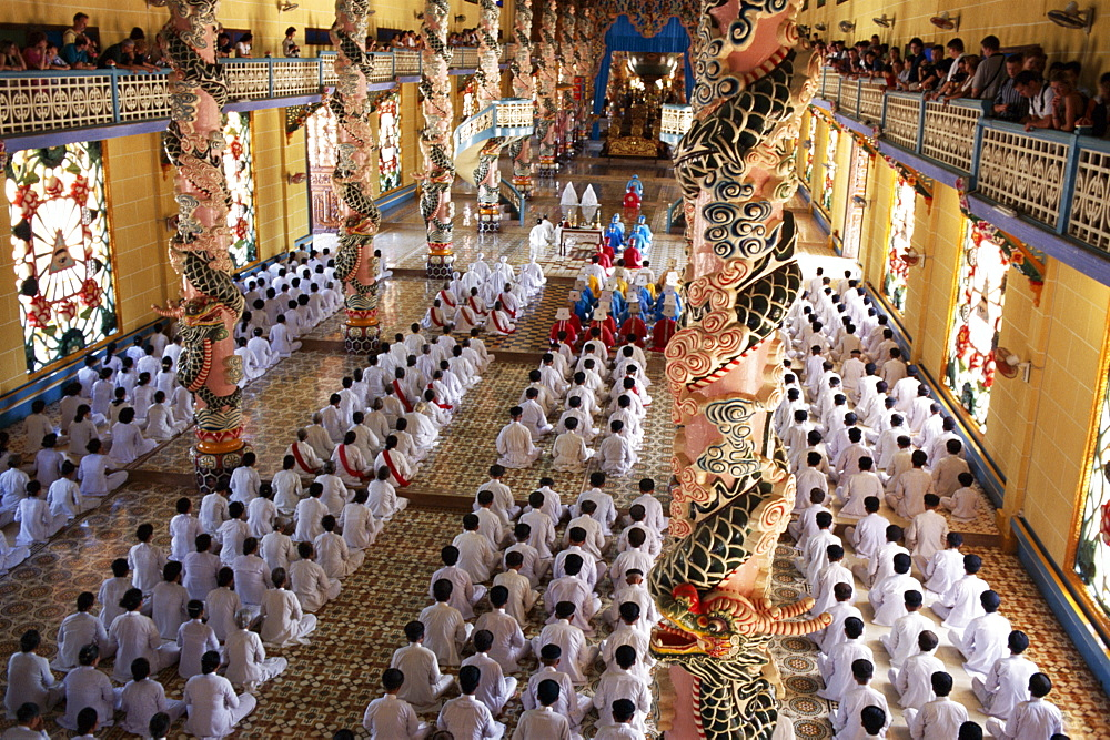 Religious service in the interior of the Cao Dai Temple, Tay Ninh, Vietnam, Indochina, Southeast Asia, Asia