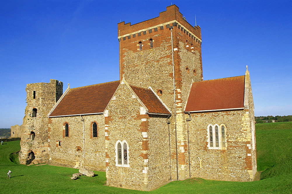 St. Mary in the Castle Saxon Church and The Roman Lighthouse, Dover Castle, Dover, Kent, England, United Kingdom, Europe