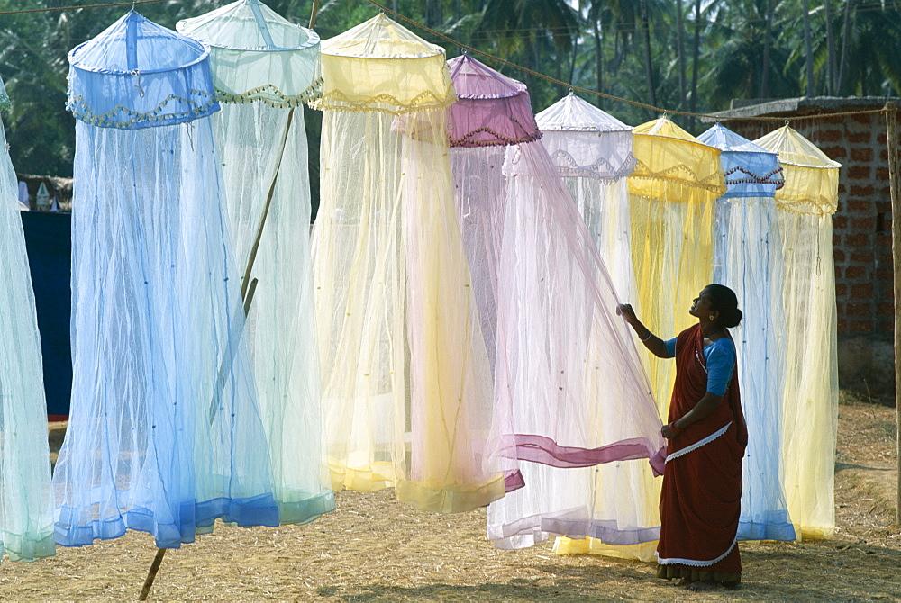 Display of mosquito nets, Anjuna Market, Goa, India, Asia