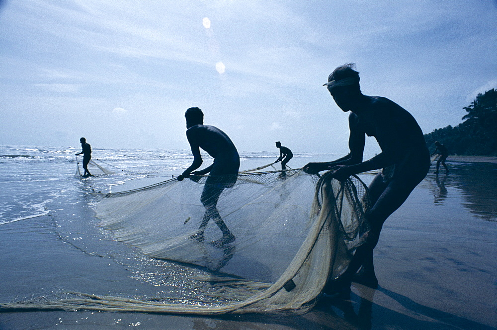 Silhouettes of fishermen pulling in nets, Negombo Beach, Negombo, Sri Lanka, Asia
