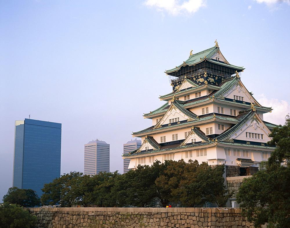 Osaka Castle and city skyline, Osaka, Honshu, Japan, Asia