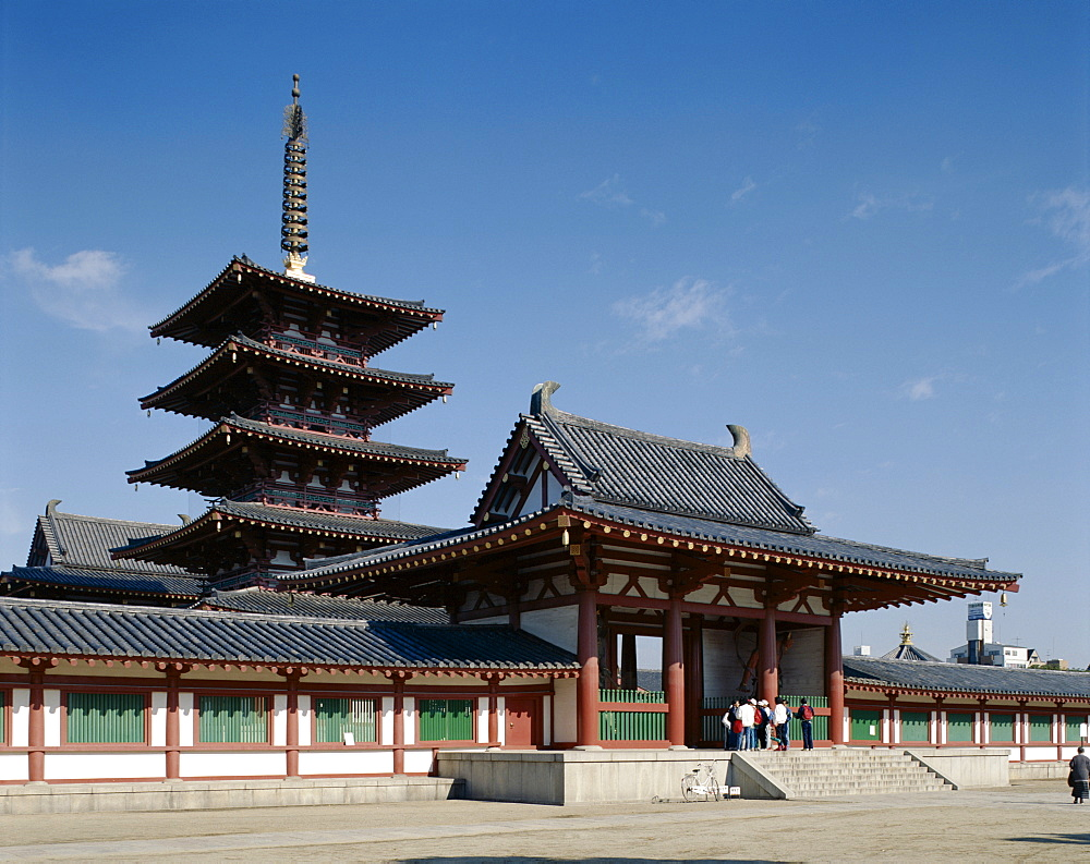 Pagoda, Shitennoji Temple, Osaka, Honshu, Japan, Asia