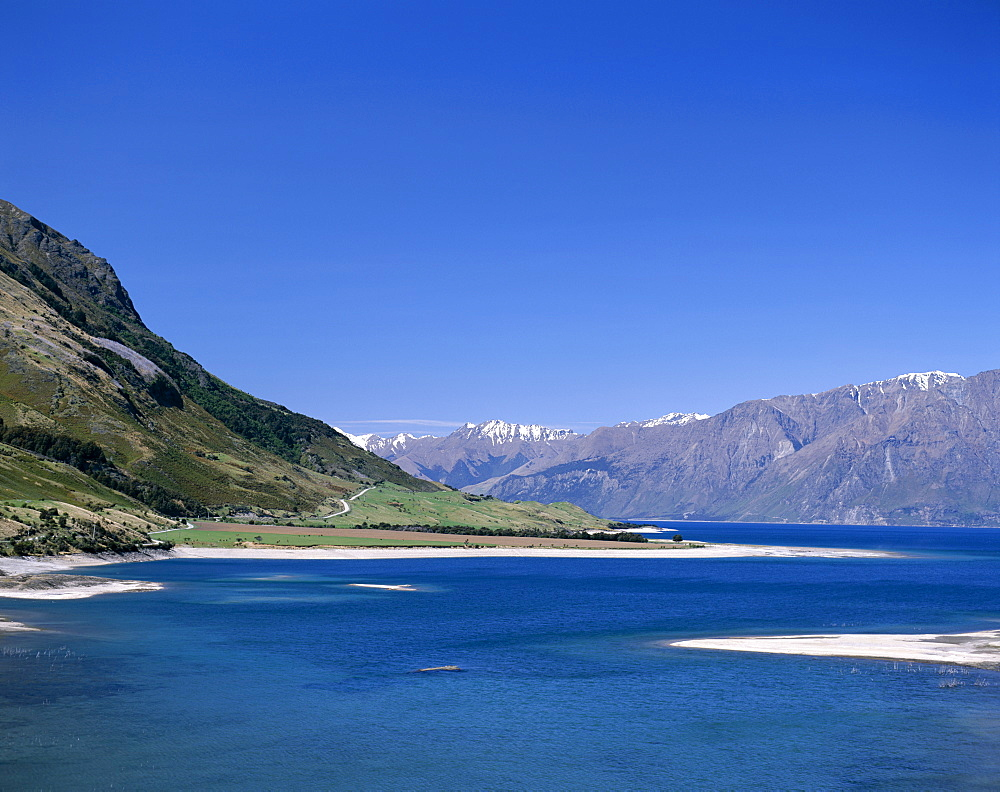 Road with Lake Hawea and The Southern Alps Mountain Ranges, Wanaka, South Island, New Zealand, Pacific