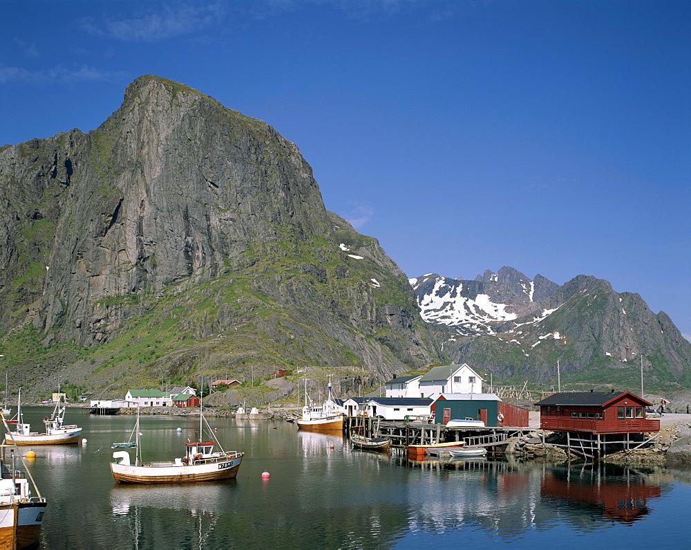 Fishing boats, Hamnoy, Lofoten Islands, Norway, Scandinavia, Europe