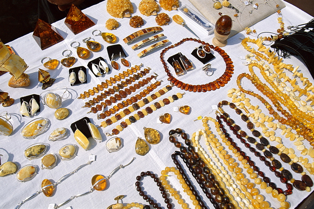 Amber necklaces and other jewellery, Riga, Latvia, Baltic States, Europe