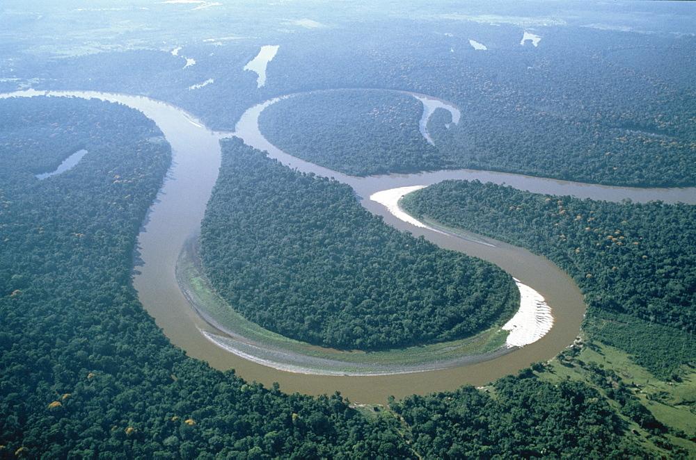 Aerial view of Amazon River, Amazon Jungle, Brazil, South America - 834-3107