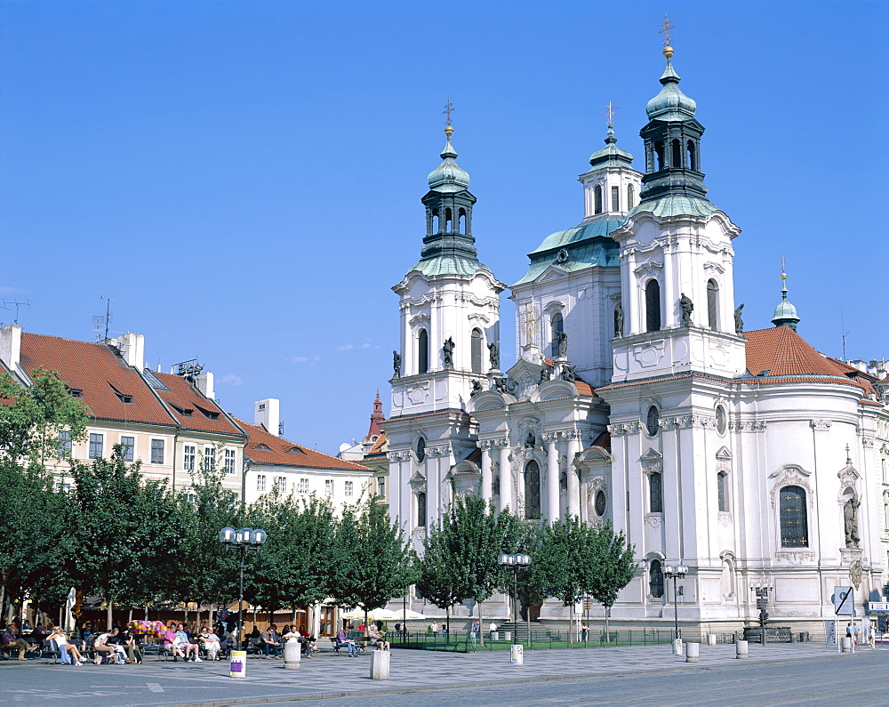 The Old Town Square (Staromestske namesti), St. Nicholas Church, Prague, Czech Republic, Europe