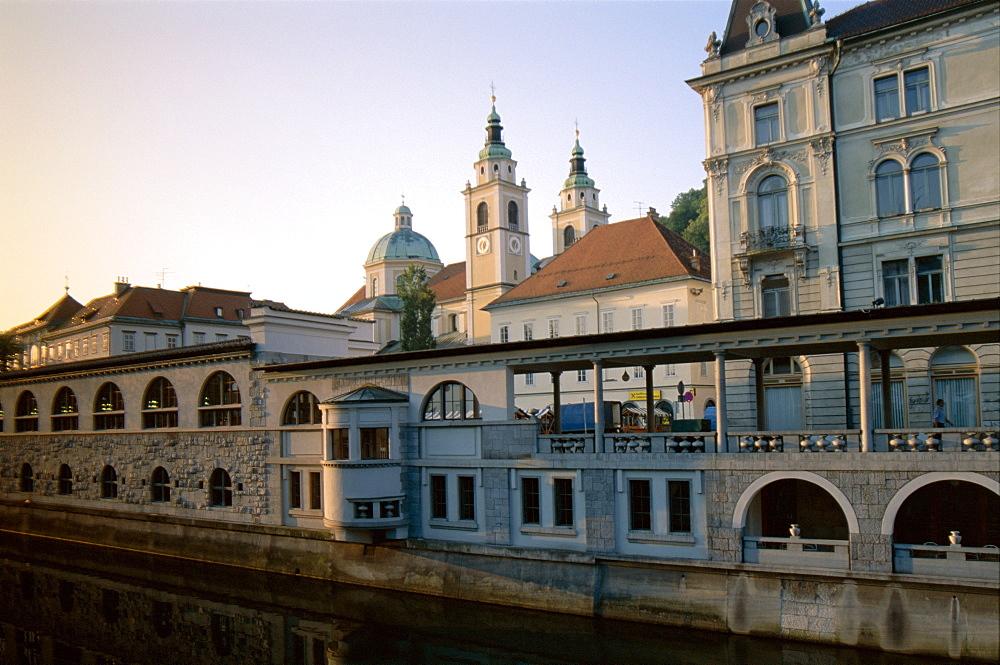 Plecniks Market, The Cathedral and Ljubljanica River, Ljubljana, Slovenia, Europe