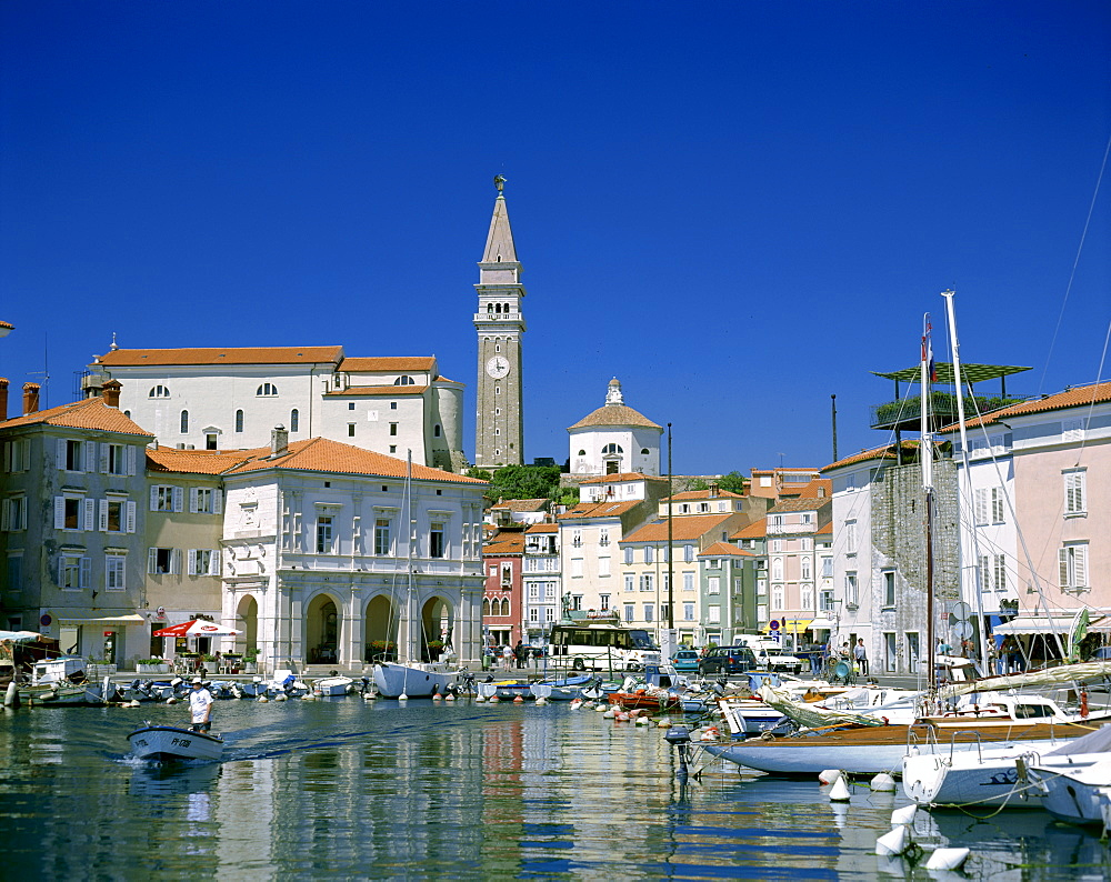 Town view and harbour, Piran, Primorska Region, Slovenia, Europe