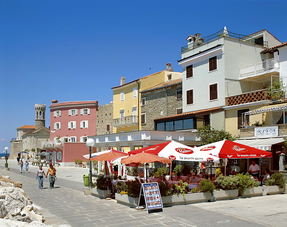 Waterfront cafes, Piran, Primorska Region, Slovenia, Europe