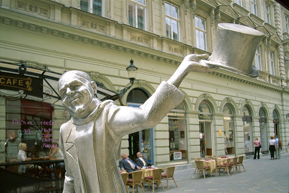 Sculpture in The Old City (Stare mesto), Bratislava, Slovakia, Europe