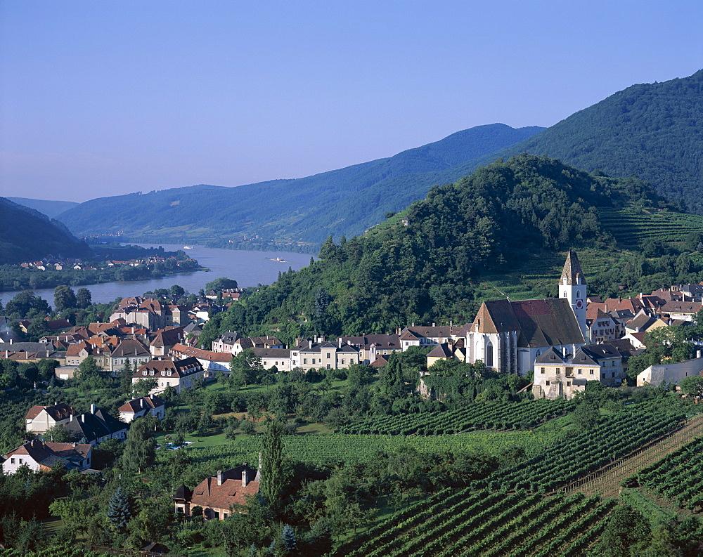 Vineyards and Danube River (Donau River), Spitz, Wachau, Austria, Europe