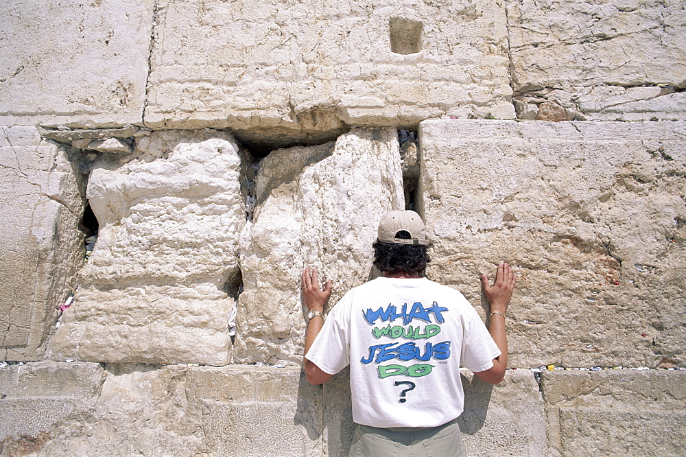 Man praying, Jewish Quarter, Western Wall (Wailing Wall),  Jerusalem, Israel, Middle East