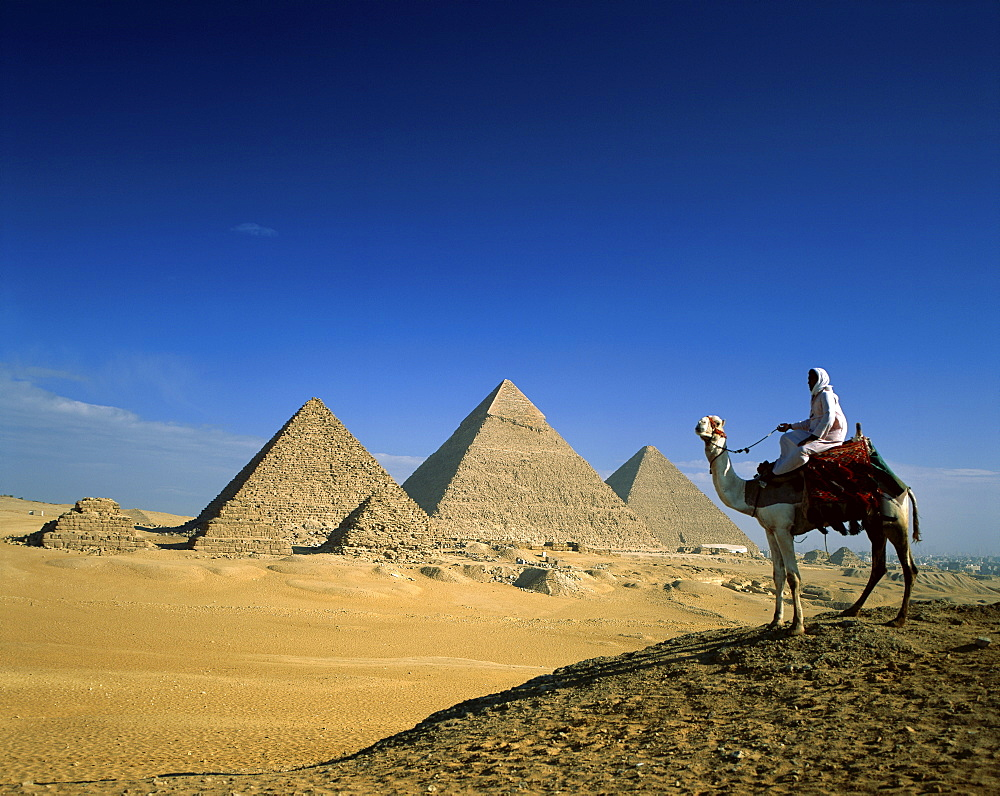 Man on camel in front of the Pyramids, Giza, Egypt, North Africa, Africa
