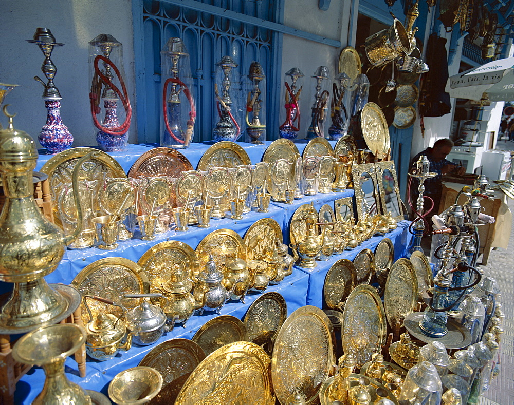Copperware Shop, Nabeul, Tunisia, North Africa, Africa