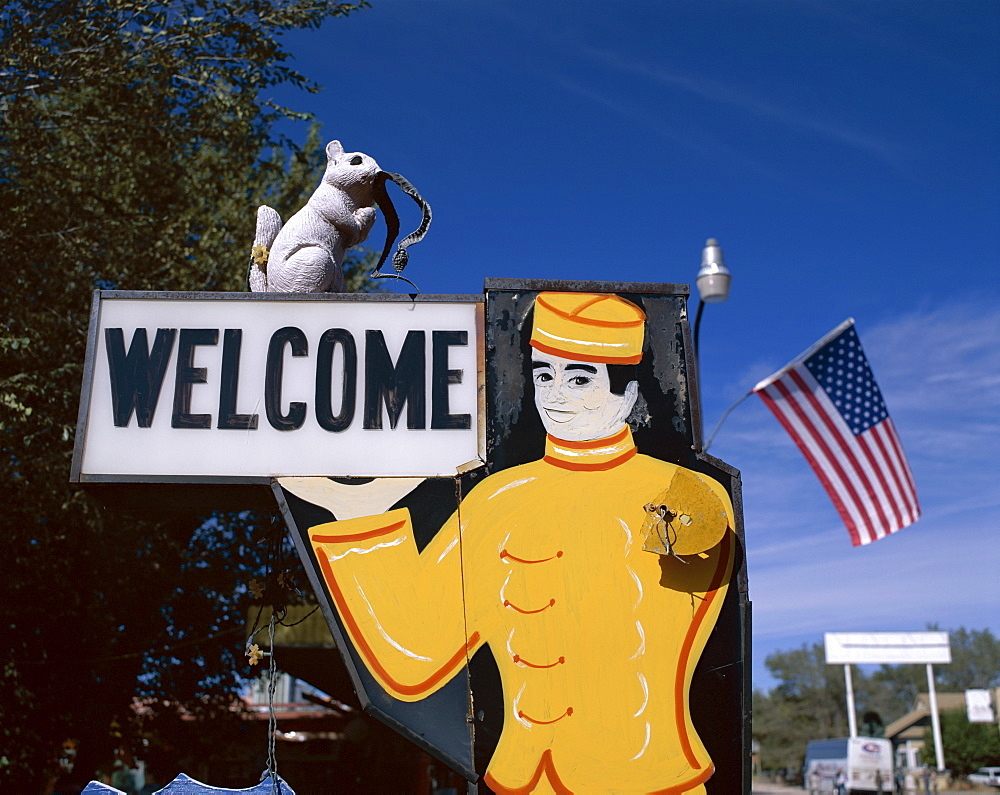 Old Diner Sign, Route 66, Seligman, Arizona, United States of America, North America