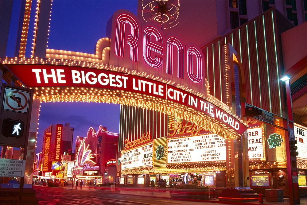 Hotels and casinos at night, Reno, Nevada, United States of America, North America