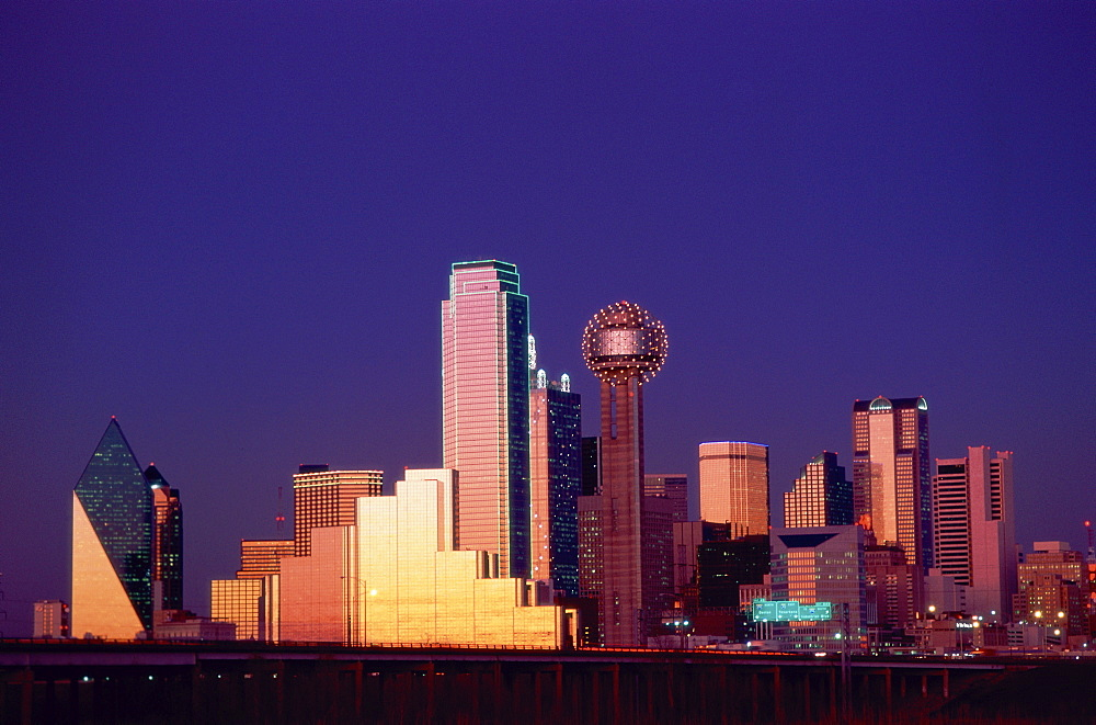 City skyline at night, Dallas, Texas, United States of America, North America - 834-4031