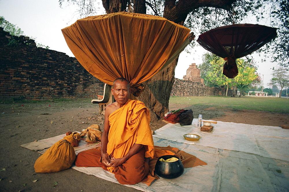 Monk sitting under tree near Wat Phra Sri Samphet, Ayutthaya, Thailand, Southeast Asia, Asia