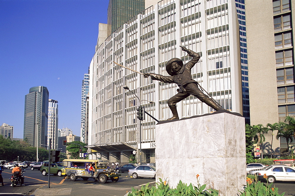 Makati Business street scene with Del Pilar statue, Manila, Philippines, Southeast Asia, Asia