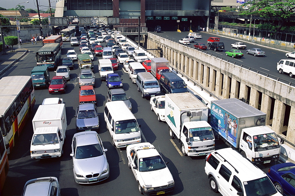 Typical traffic jam, Manila, Philippines, Southeast Asia, Asia