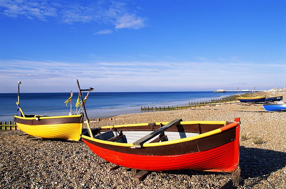 Colourful fishing boats on Worthing Beach, Worthing, Sussex, England, United Kingdom, Europe