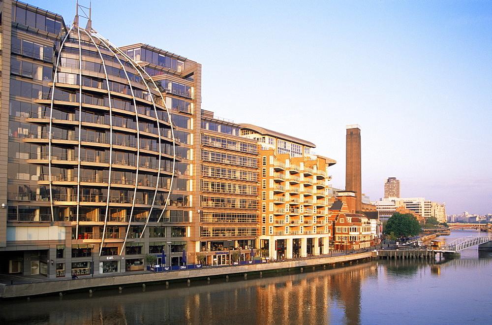 Modern riverfront buildings at Bankside, River Thames, London, England, United Kingdom, Europe