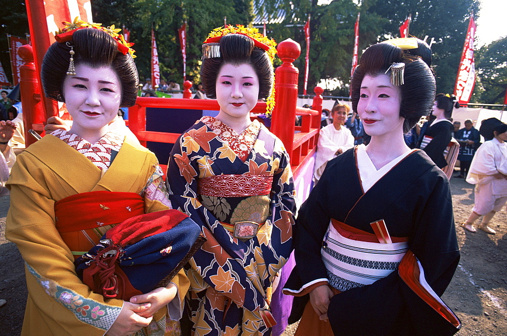 Geishas at Jidai Matsuri Festival held annually in November at Sensoji Temple, Asakusa, Tokyo, Japan, Asia - 834-5360
